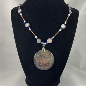 Abalone pendant w/ butterfly design necklace